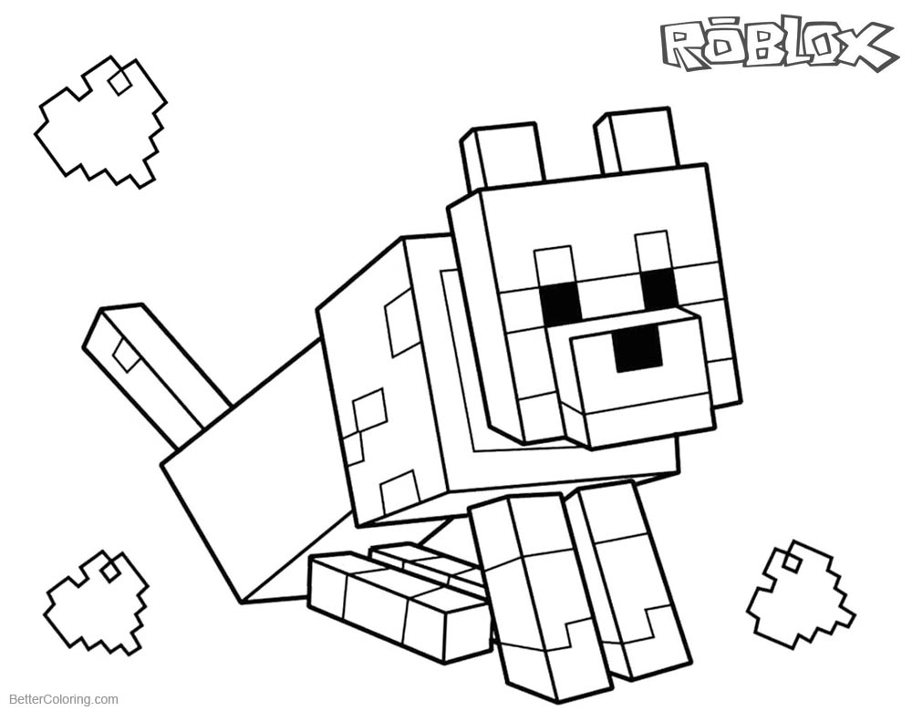 Roblox coloring pages Minecraft Dog printable for free