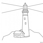 Simple Lighthouse Coloring Pages Outline Drawing