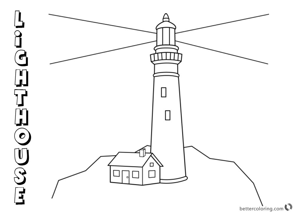 Simple Lighthouse Coloring Pages Outline Drawing printable for free