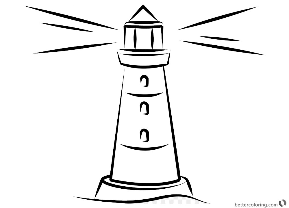 Simple Lighthouse Coloring Pages Free Printable Coloring
