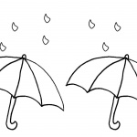 Simple Raindrop Coloring Pages and Umbrella