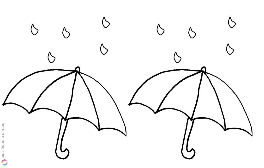 Simple Raindrop Coloring Pages and Umbrella printable for free