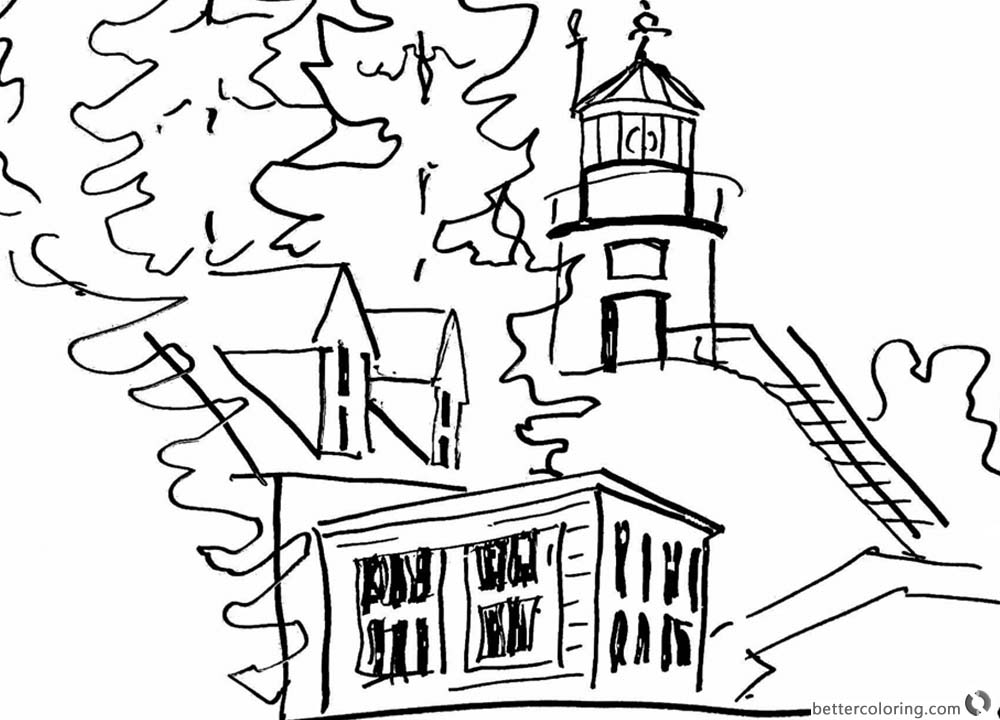 Sketch Lighthouse Coloring Pages printable for free