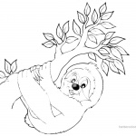 Sloth Coloring Pages Four Sloth Under the Leaves