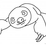 Sloth Coloring Pages Two Toed Sloth Simple Line