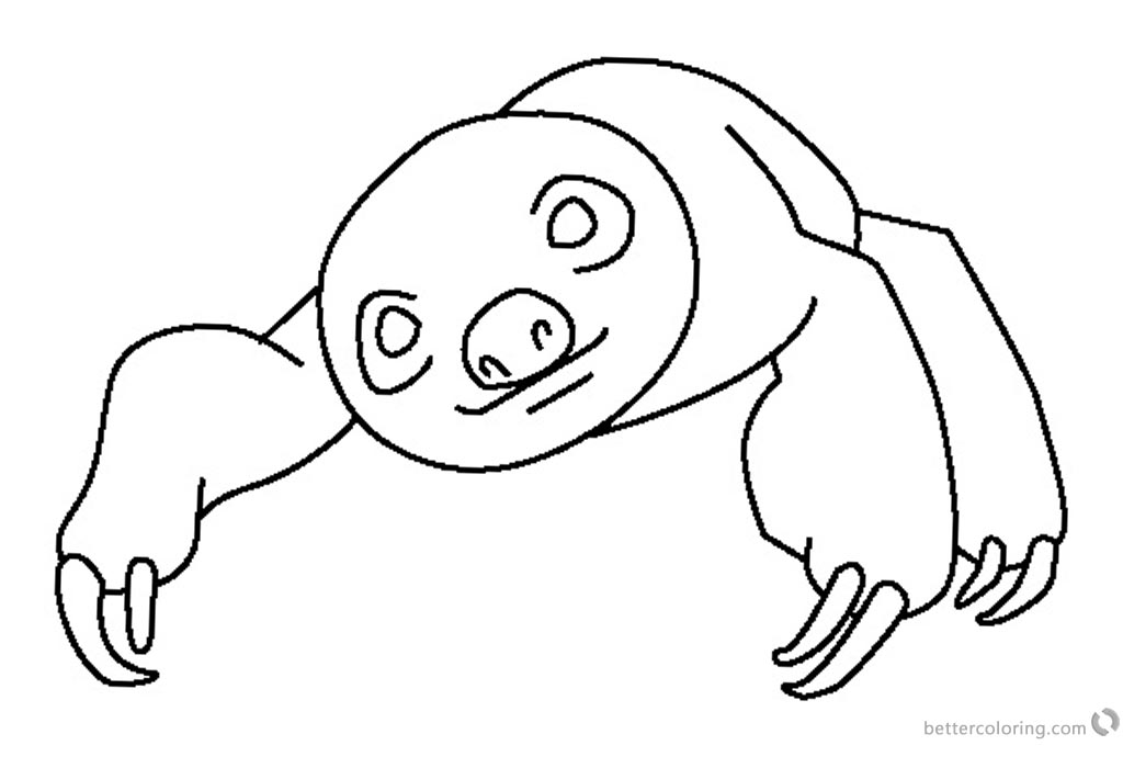 Sloth Coloring Pages Two Toed Sloth Simple Line printable for free