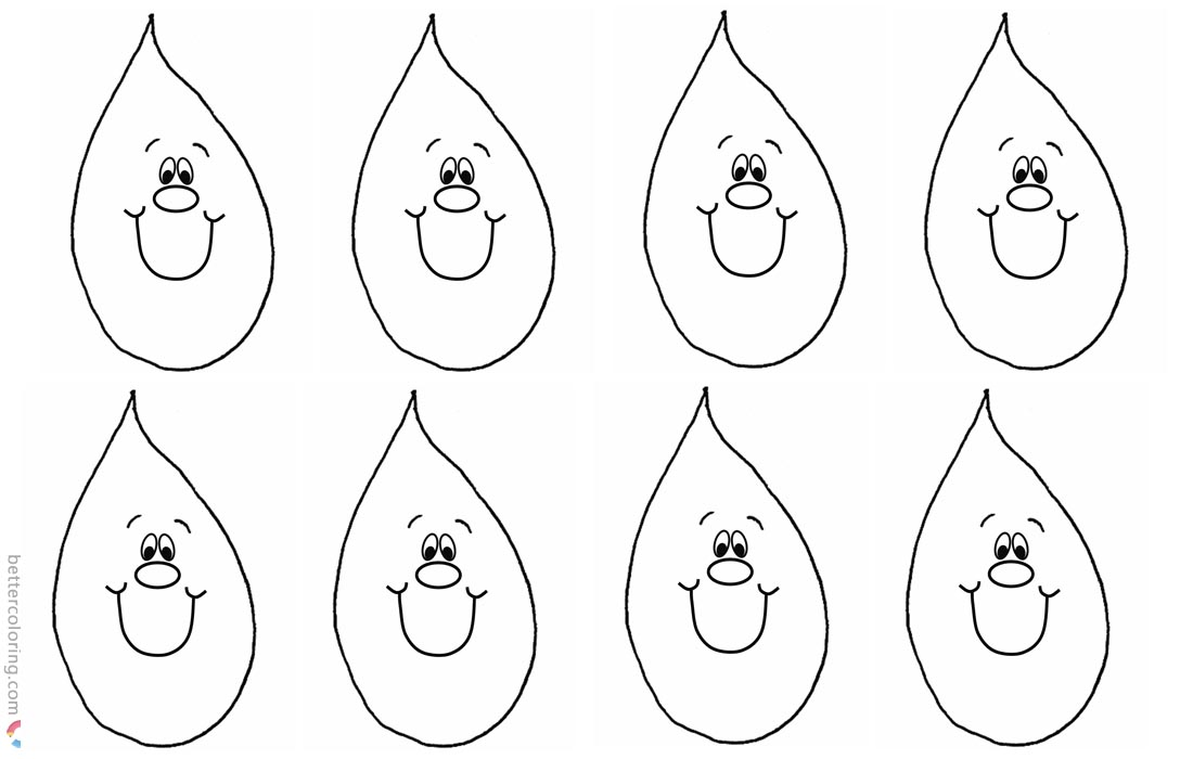Spring Raindrop Coloring Pages printable for free