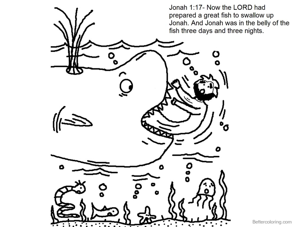Story of Jonah And The Whale Coloring Pages - Free Printable ...