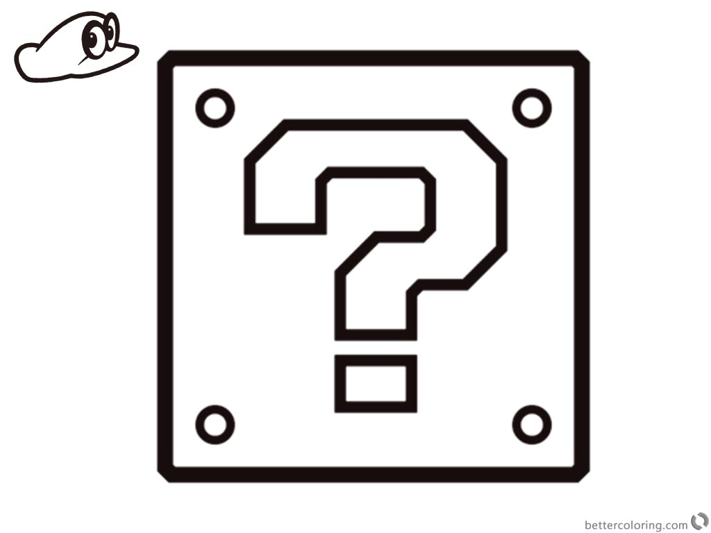 mario question block coloring pages - photo#1