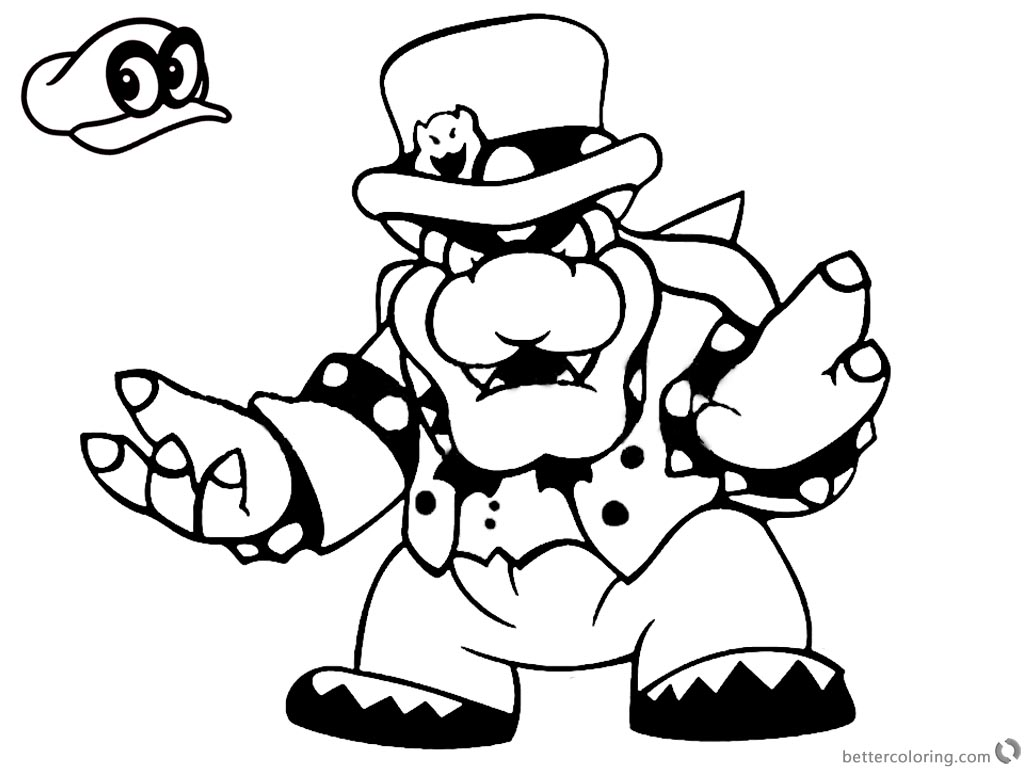 Super Mario Odyssey Coloring Pages Bowser printable for free