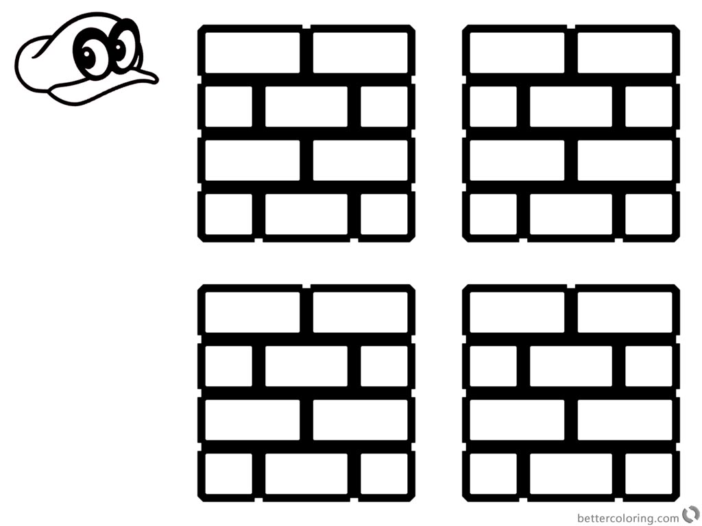 Super Mario Odyssey Coloring Pages Brick Block printable for free