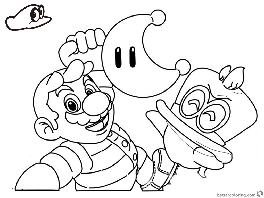 Super Mario Odyssey Coloring Pages Funy Line Drawing printable for free