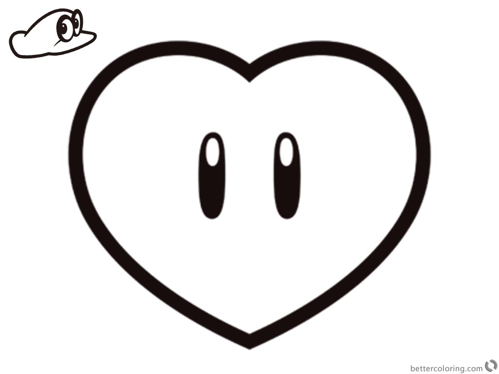 Super Mario Odyssey Coloring Pages Heart printable for free