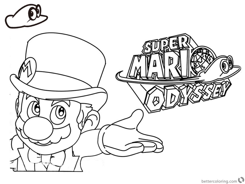 Super Mario Odyssey Coloring Pages Line Art with Logo ...