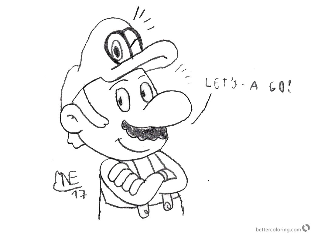 Super Mario Odyssey Coloring Pages Lineart by MrNintMan printable for free