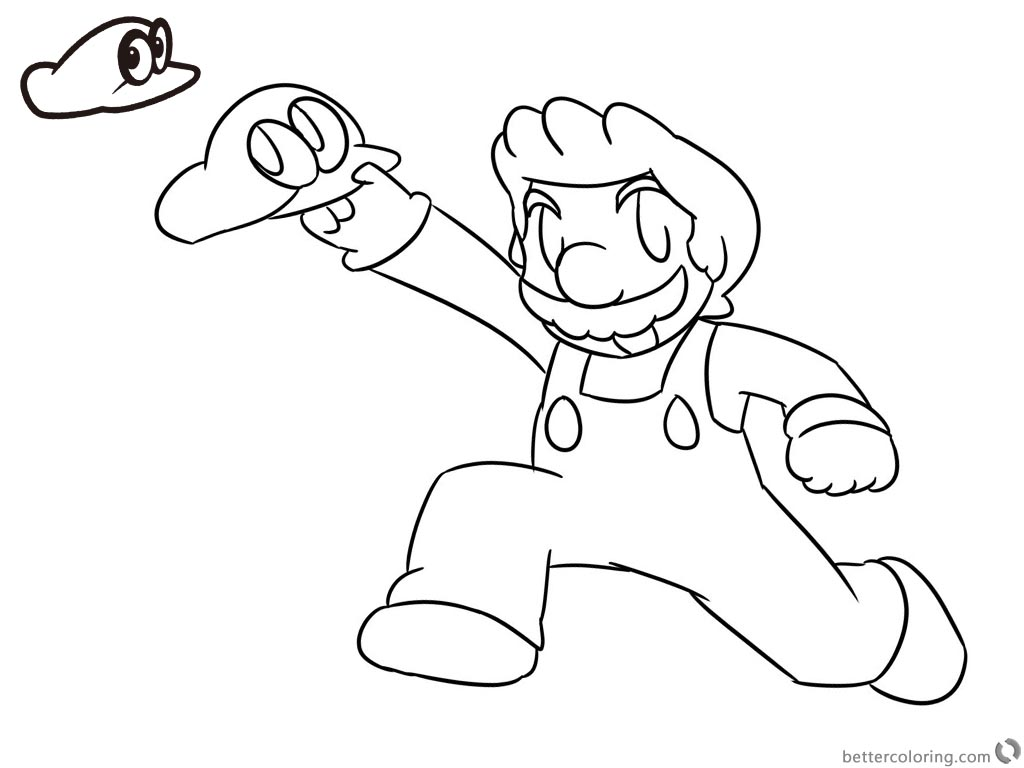 Super Mario Odyssey Coloring Pages Lineart by Xero-J printable for free