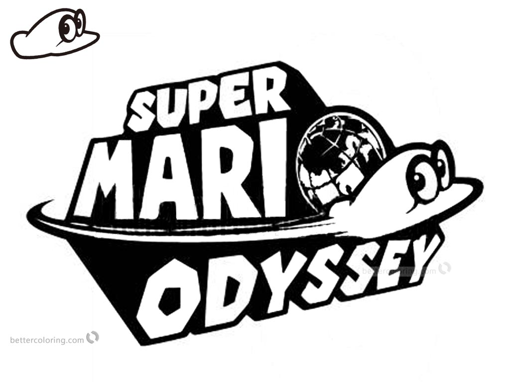 Super Mario Odyssey Coloring Pages Logo printable for free