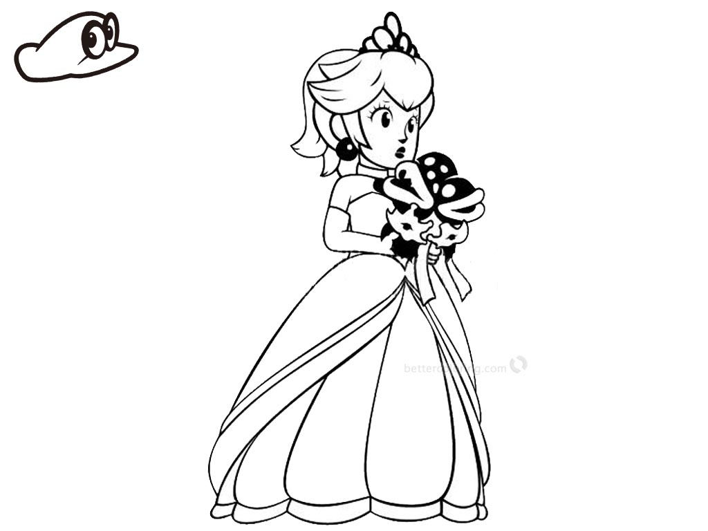 Super Mario Odyssey Coloring Pages Princess Peach Free Printable - Coloring-pages-super-mario