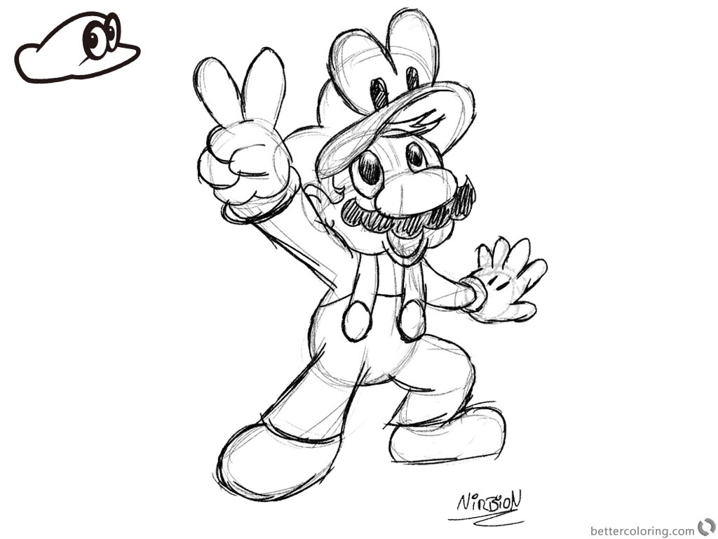 Super Mario Odyssey Coloring Pages Victory Pose - Free ...