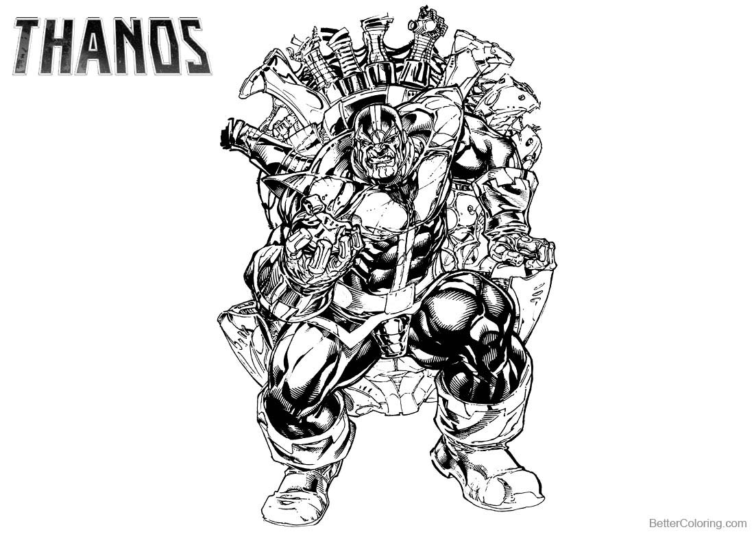 Thanos Coloring Pages Black and White printable for free