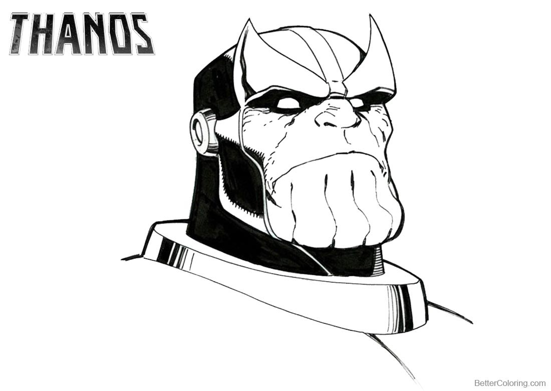 Thanos Coloring Pages Face Drawing - Free Printable Coloring Pages