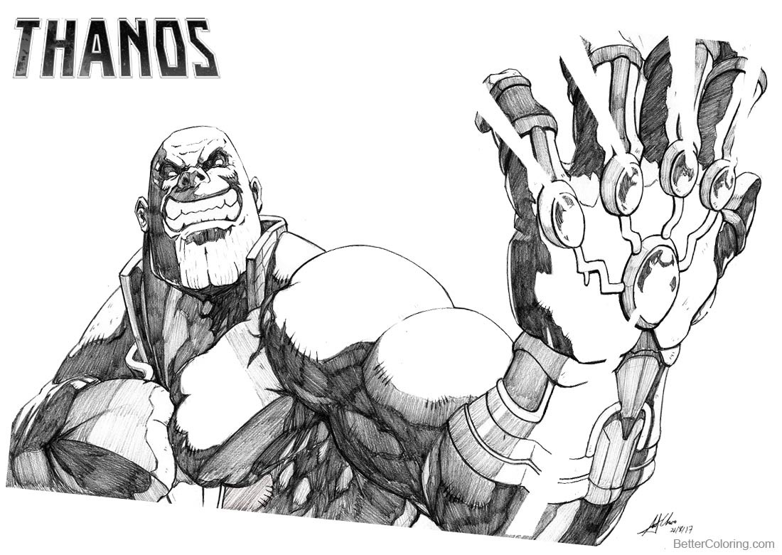 Thanos Coloring Pages Fan Art by AndiMoo printable for free
