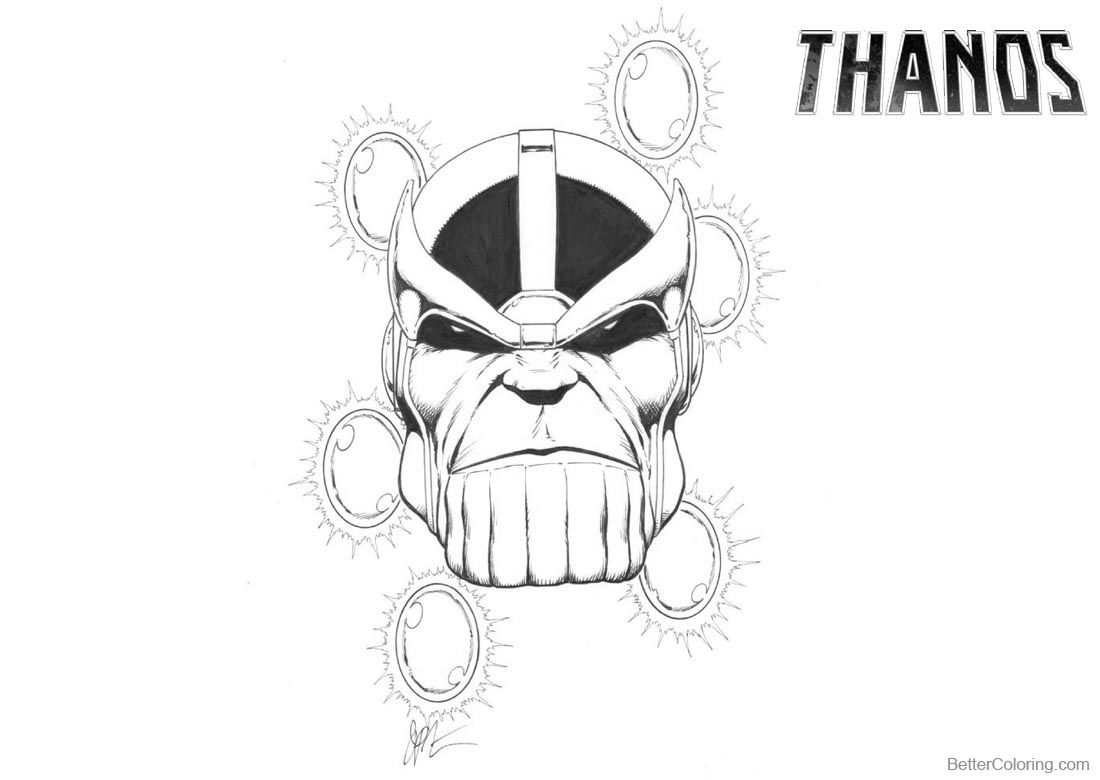 Thanos Coloring Pages Fan Drawing Free Printable