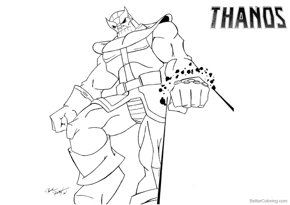 Thanos Coloring Pages by Josh Frost printable for free