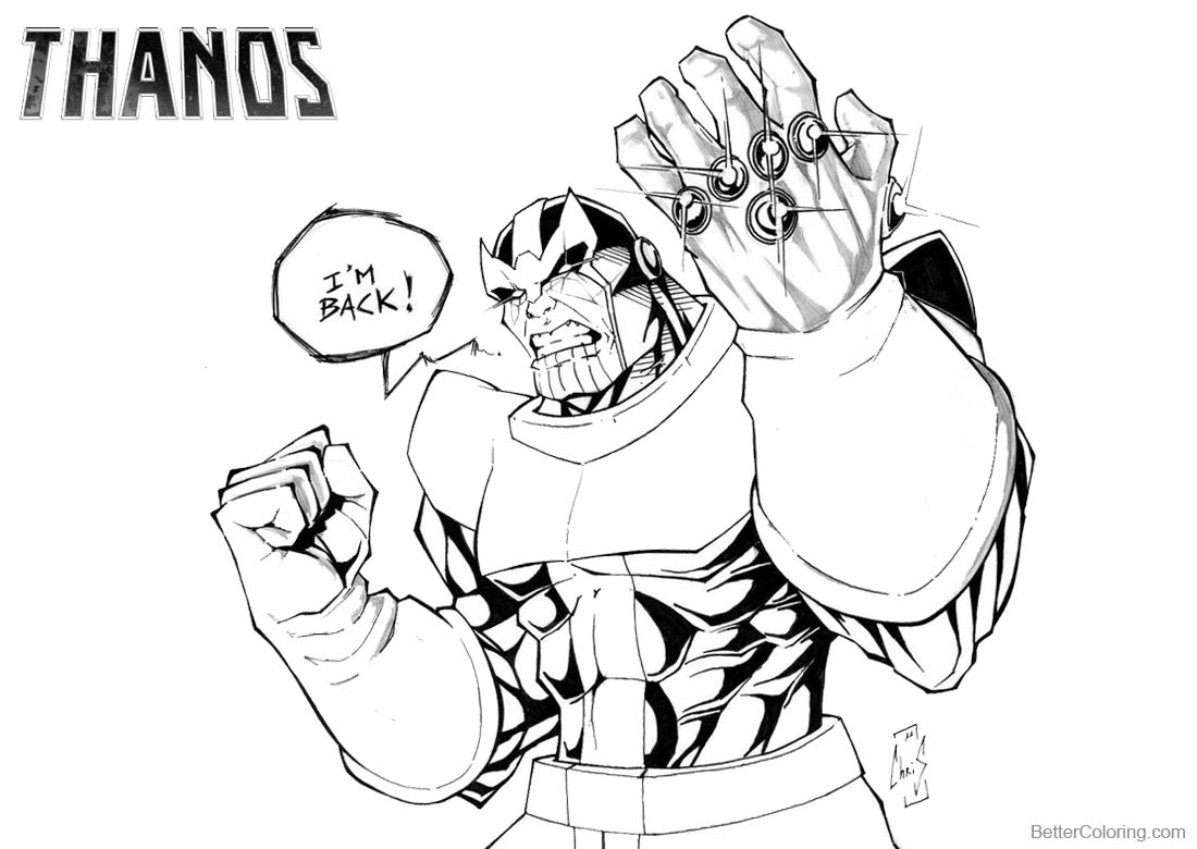 Thanos Coloring Pages by Spidertof printable for free