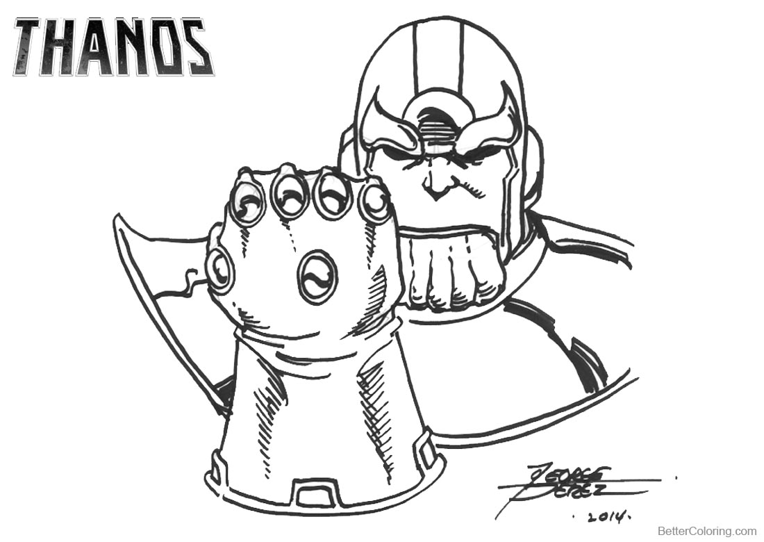 Superhero Thanos Coloring Pages: Thanos Infinity Gauntlet Coloring Pages Drawing By George