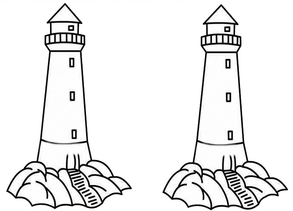 Two Lighthouses Coloring Pages printable for free