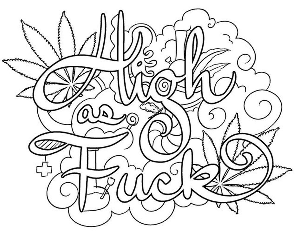 Weed Coloring Pages 420 Swear Words