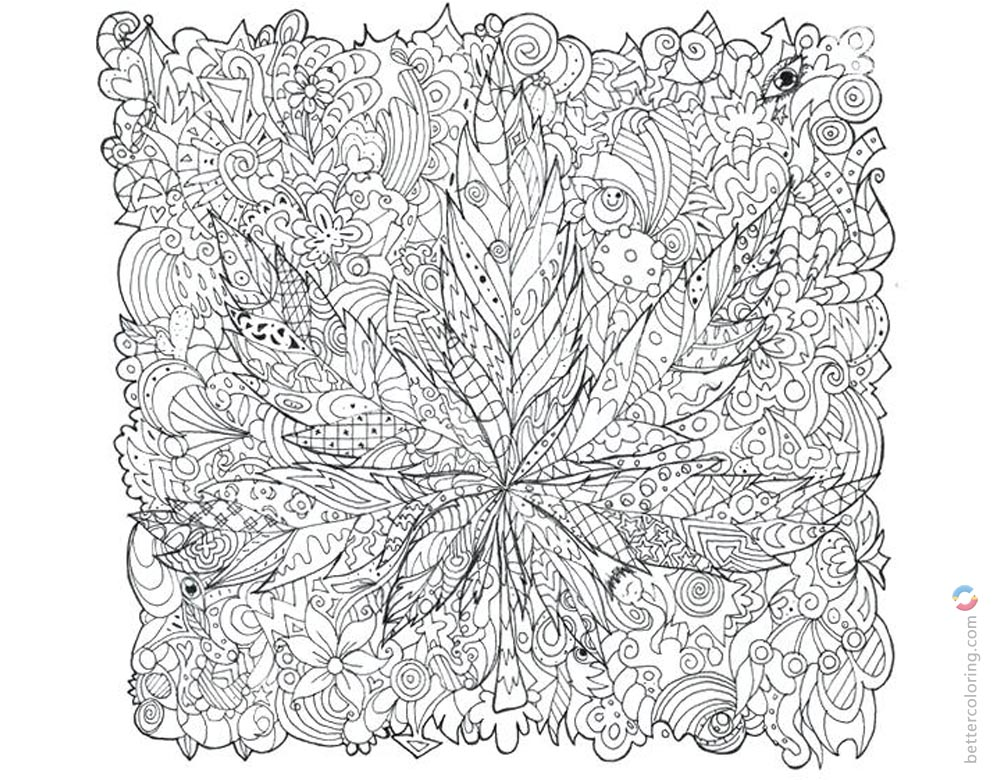 Weed Coloring Pages Adults Tattoos Free Printable