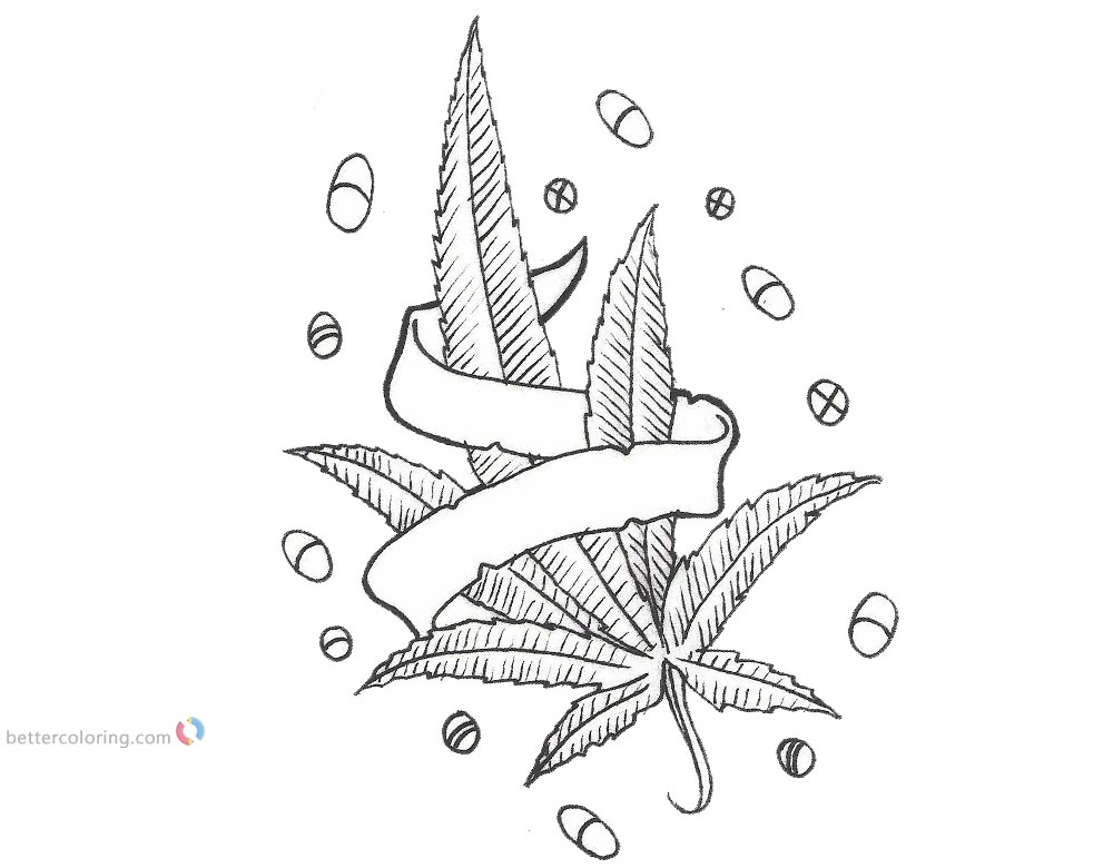 Weed Coloring Pages Cannabis Pot Weed Free Printable
