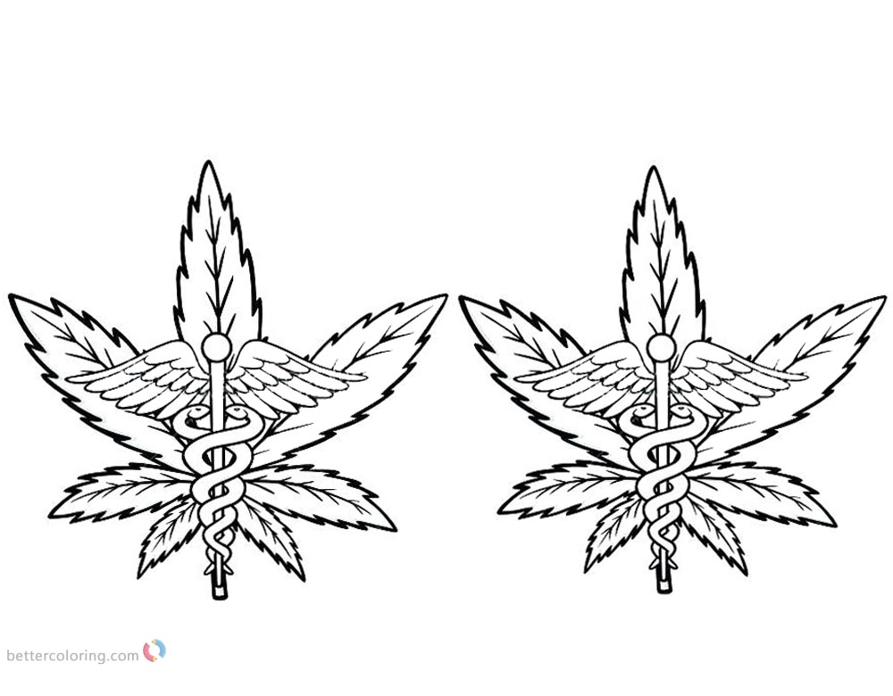 Weed Coloring Pages Cannabis with Pot printable for free