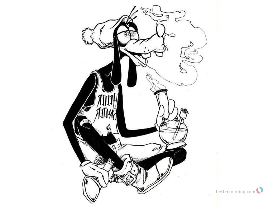 Weed Coloring Pages Disney Goofy High on Weed printable for free