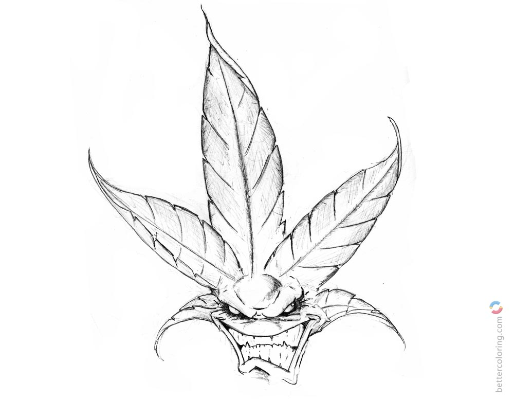 Weed Coloring Pages Embroidery Trippy Stoner Drawings printable for free