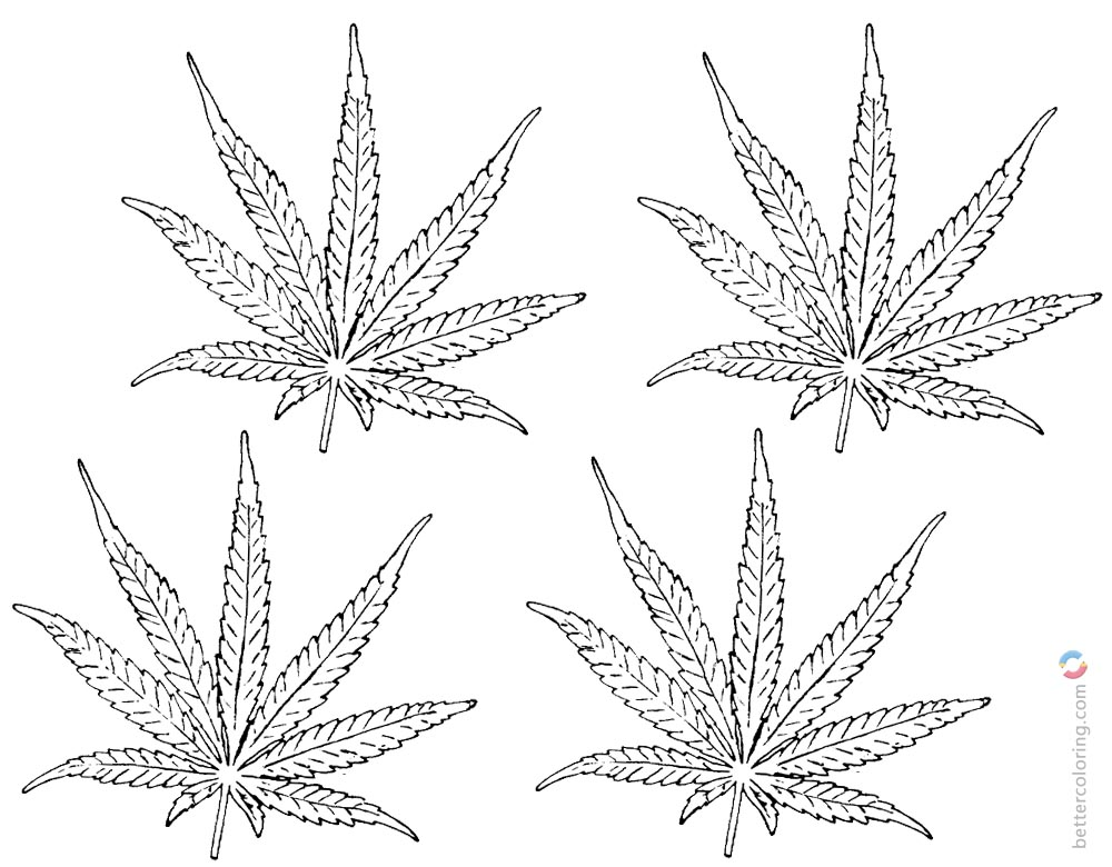 Weed Coloring Pages Four Leaves Clipart printable for free