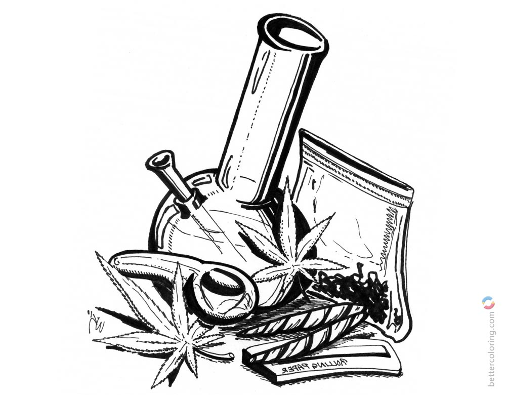 Weed Coloring Pages Hand Drawing Art printable for free