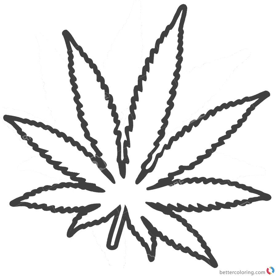 Drawing weed leaf coloring page sketch coloring page for Weed leaf template