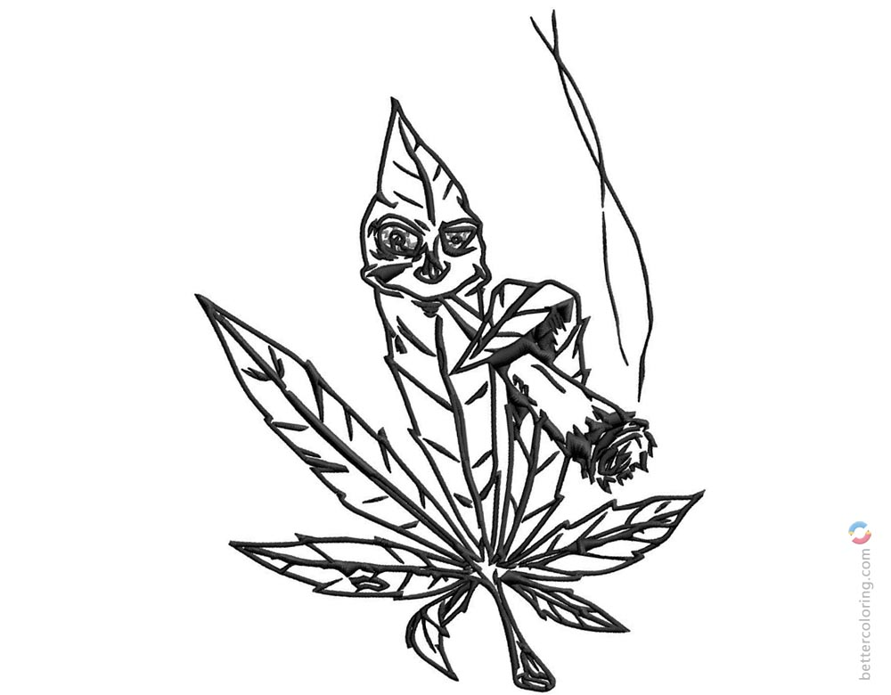 Weed Coloring Pages Marijuana Pot Leaf Free Printable