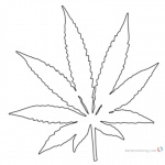 Weed Coloring Pages Pot Leaf White and Black