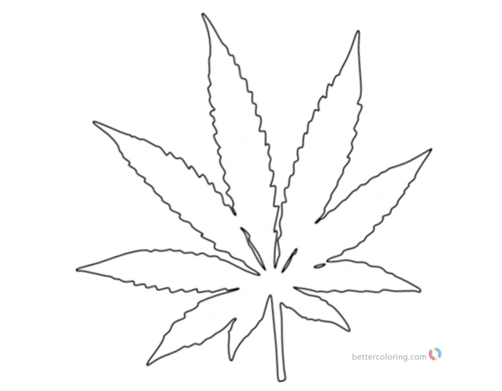 Weed Coloring Pages Pot Leaf White and Black printable for free