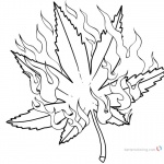 Weed Coloring Pages Pot Leaf with Fire