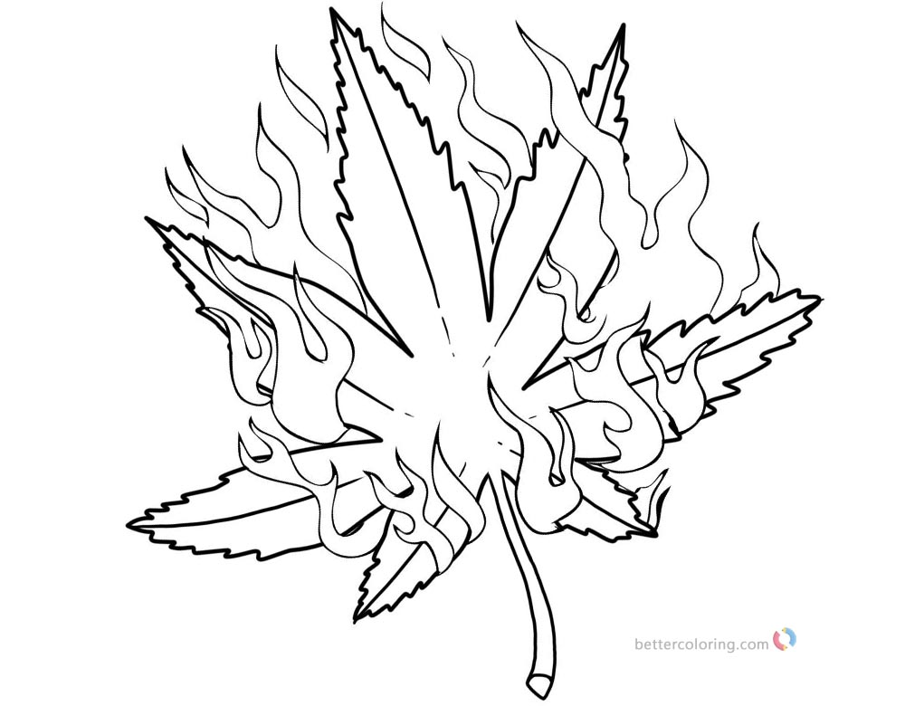 Weed Coloring Pages Pot Leaf with Fire - Free Printable