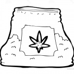 Weed Coloring Pages Stock Bag