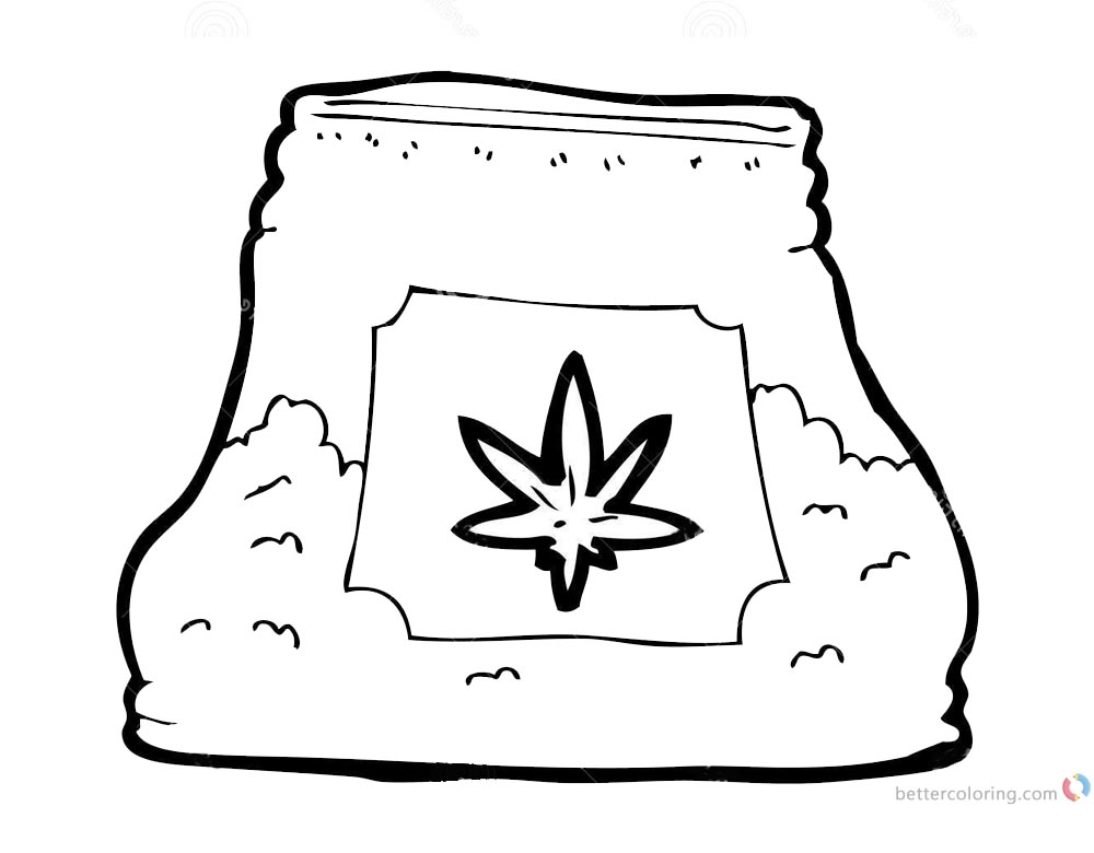 Weed Coloring Pages Stock Bag printable for free