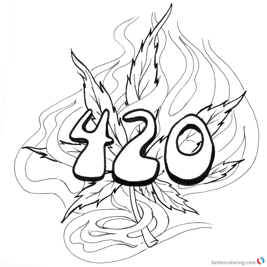 Weed Coloring Pages Tattoo 4 20 Coloring Sheets Free