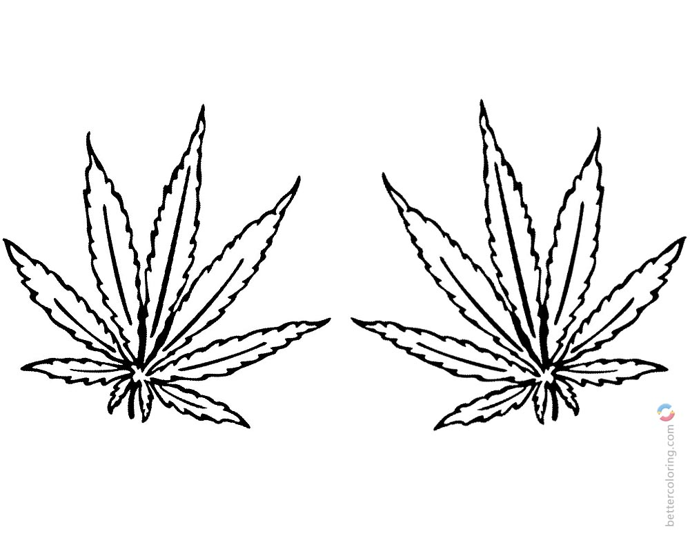 Weed Coloring Pages Tattoo Leaves printable for free
