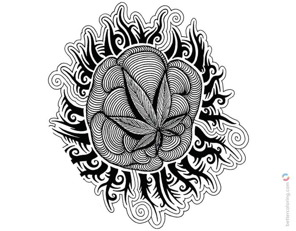 Weed Coloring Pages Tattoos Picture printable for free